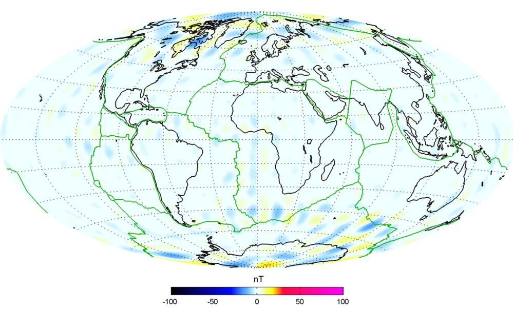 En modell av de første dataene fra magnetfeltsatellittene Swarm viser at målingene er like nøyaktige som det tok andre undersøkelser 10 år å oppnå. Grafikk: ESA/DTU Space/N. Olsen