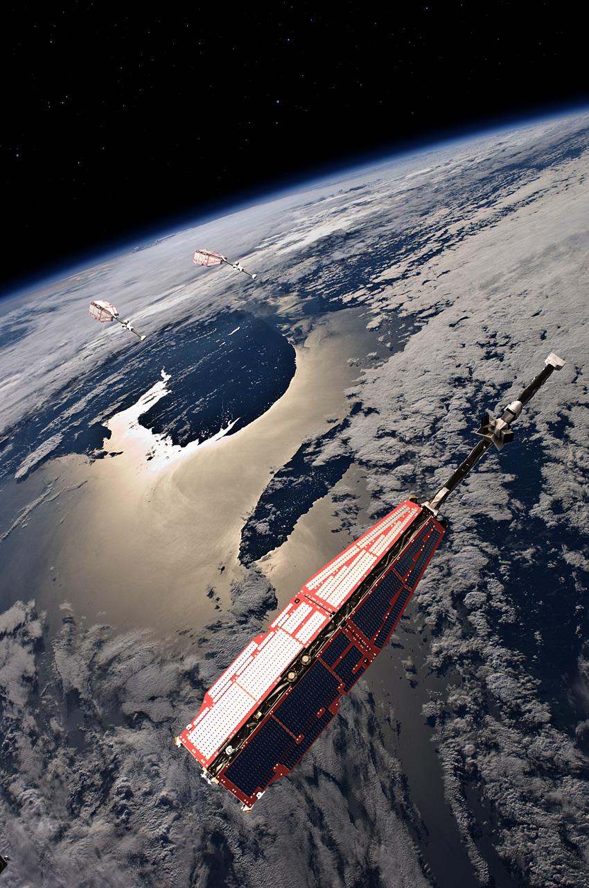 De tre satellittene i Swarm måler styrken, retningen og variasjonen i jordas livsviktige magnetfelt. Illustrasjon: ESA/AOES Medialab