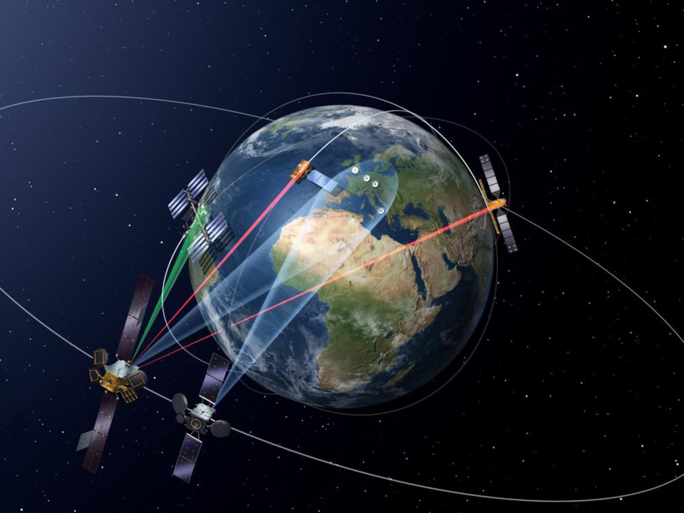 EDRS, European Data Relay System, er et system av relésatellitter som gjør at data fra satellitter i lav jordbane kan leses ned mye oftere og i større mengder. Dataoverføringen skjer via laser. Grafikk: ESA
