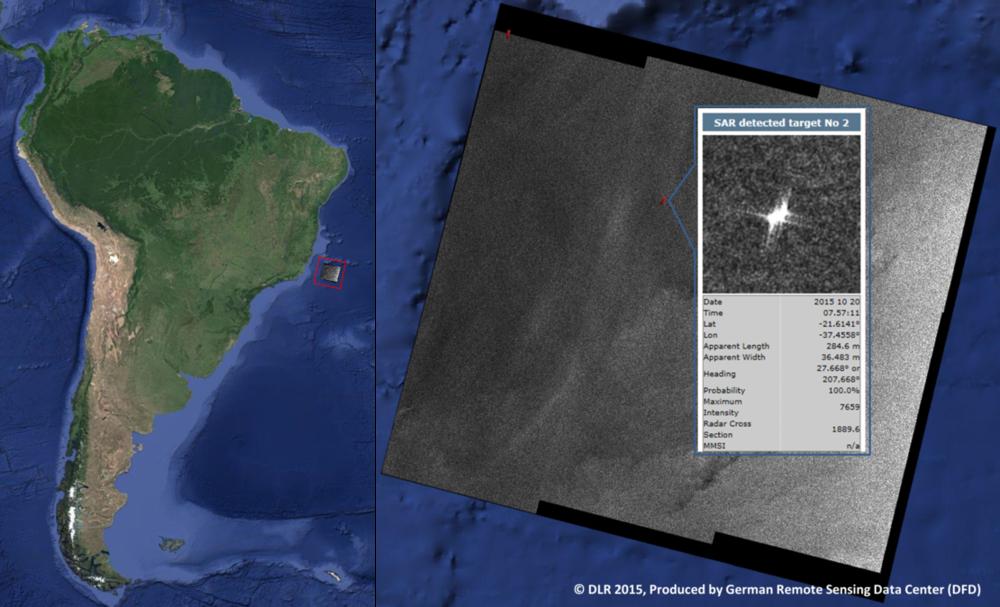 Det første bildet overført med laser via relésatellitt ble mottatt fra miljøsatellitten Sentinel-1. Radarbildet av skipstrafikk utenfor kysten av Brasil var klart for bruk bare 18 minutter etter at det ble tatt i rommet. Foto: DLR