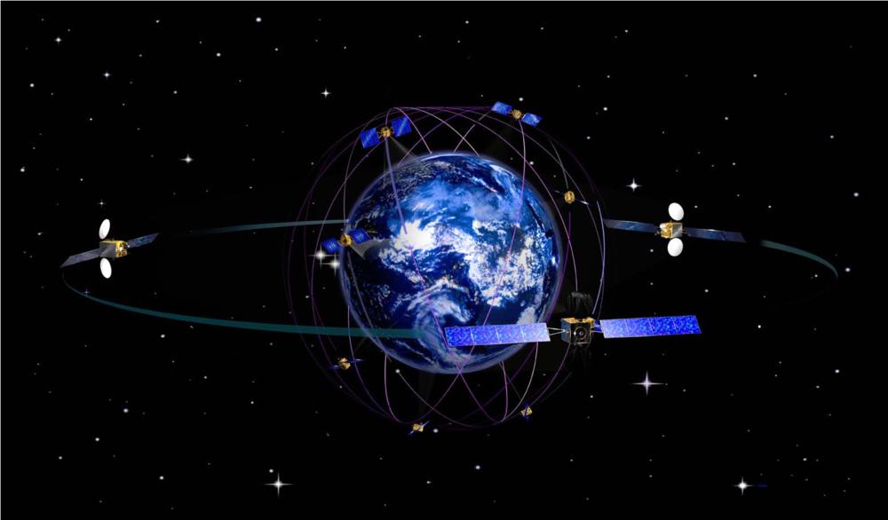 Konstellasjon av satellitter i det europeiske navigasjonssystemet Galileo. Illustrasjon: ESA/J. Huart