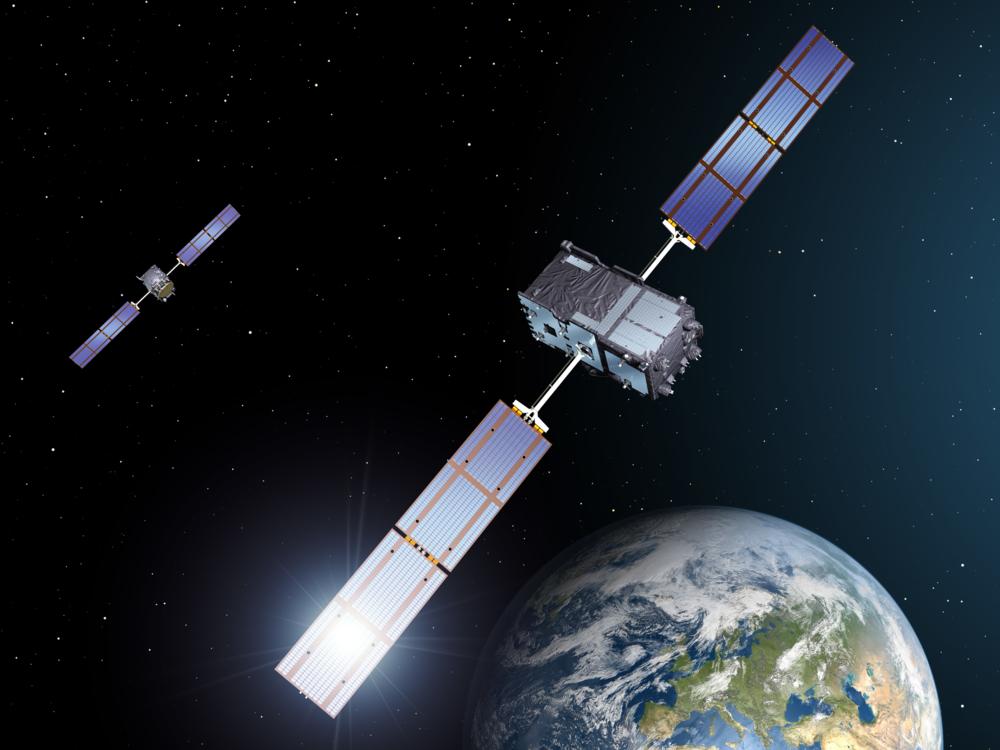 Satellitt i det nye europeiske navigasjonssystemet Galileo. Illustrasjon: ESA