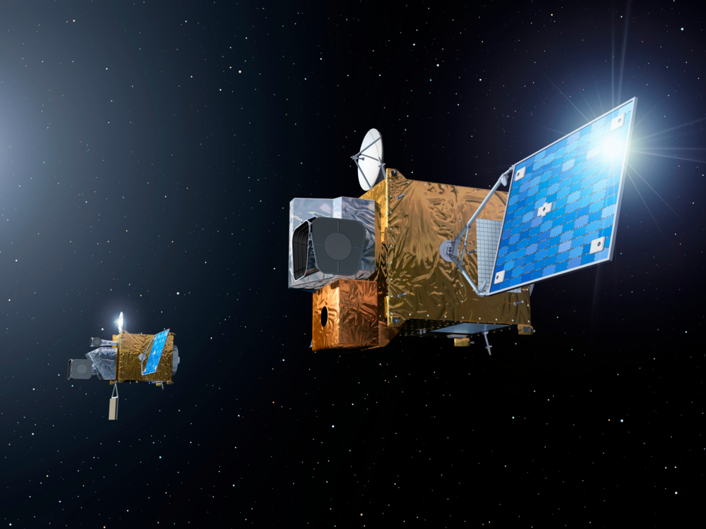 Meteosat Third Generation, to av Europas nye generasjon værsatelliter. Illustrasjon: ESA/P. Carril
