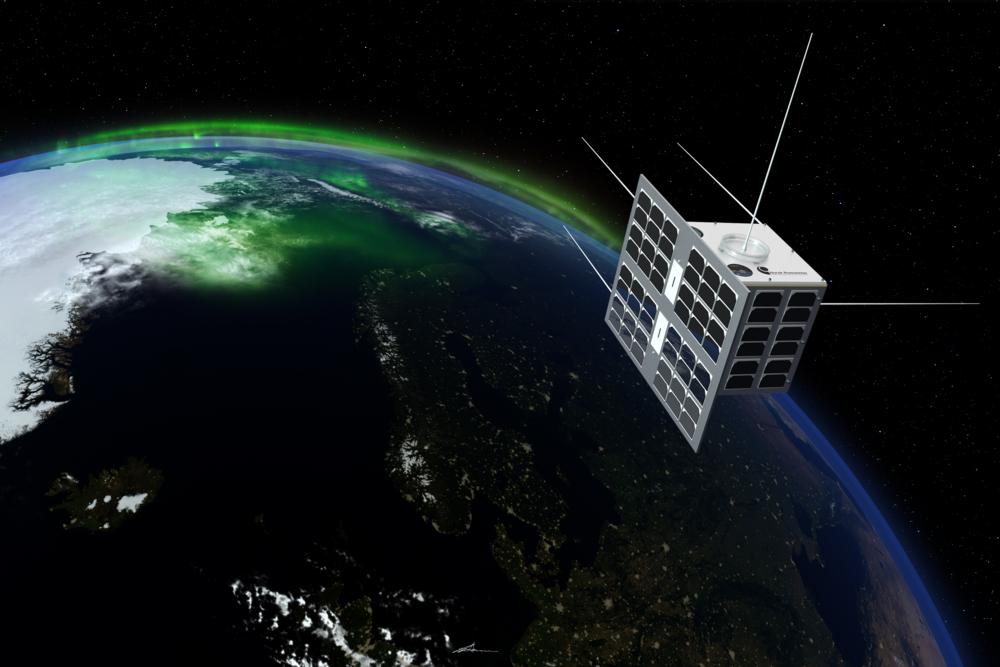 Den norske satellitten NorSat-1 ble skutt opp 14. juli 2017. Illustrasjon: T. Abrahamsen