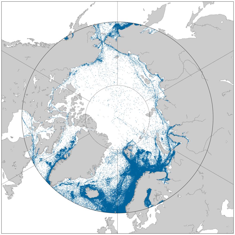 Skipstrafikk i Arktis fra september 2010 til september 2012 sett av AISSat-1. Grafikk: Norsk Romsenter