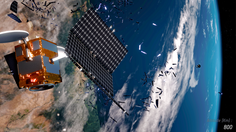 En satellitt treffes av romsøppel og danner enda mer romsøppel som igjen kan treffe annen rominfrastruktur Grafikk: ESA/ID&Sense/ONiRiXEL