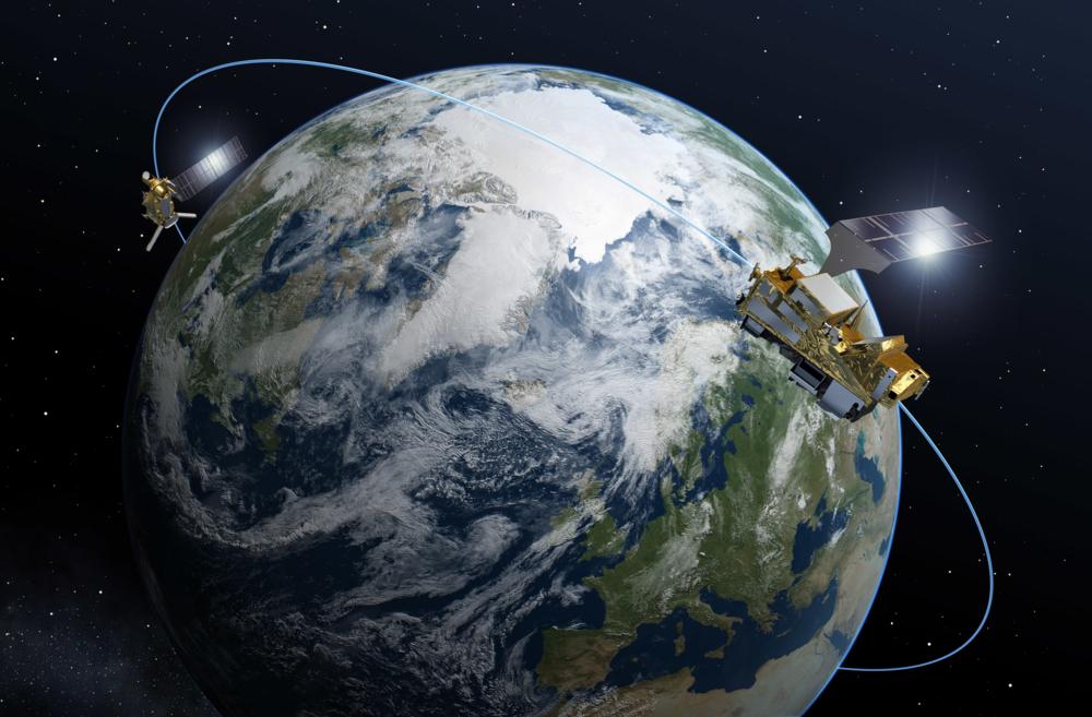MetOp Second Generation er de nye europeiske værsatellittene i polare baner. De 6 satellittene vil gå parvis og skytes opp etter 2023. Grafikk: ESA/P. Carril