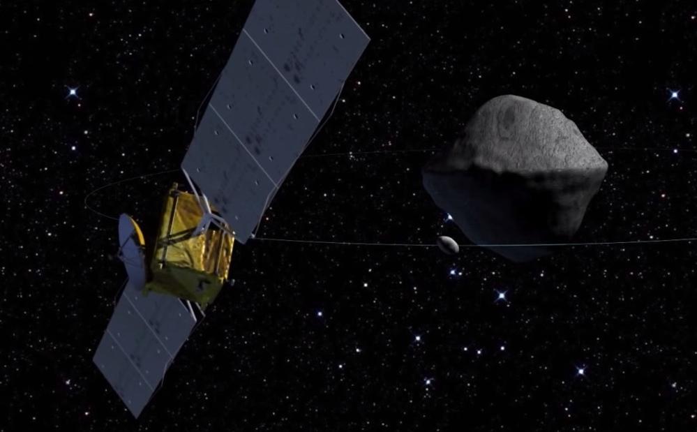 Den europeiske romsonden Asteroid Impact Mission, eller AIM, ved Didymos, som består av en stor asteroide og en liten asteroide i bane rundt. Grafikk: ESA-Science Office