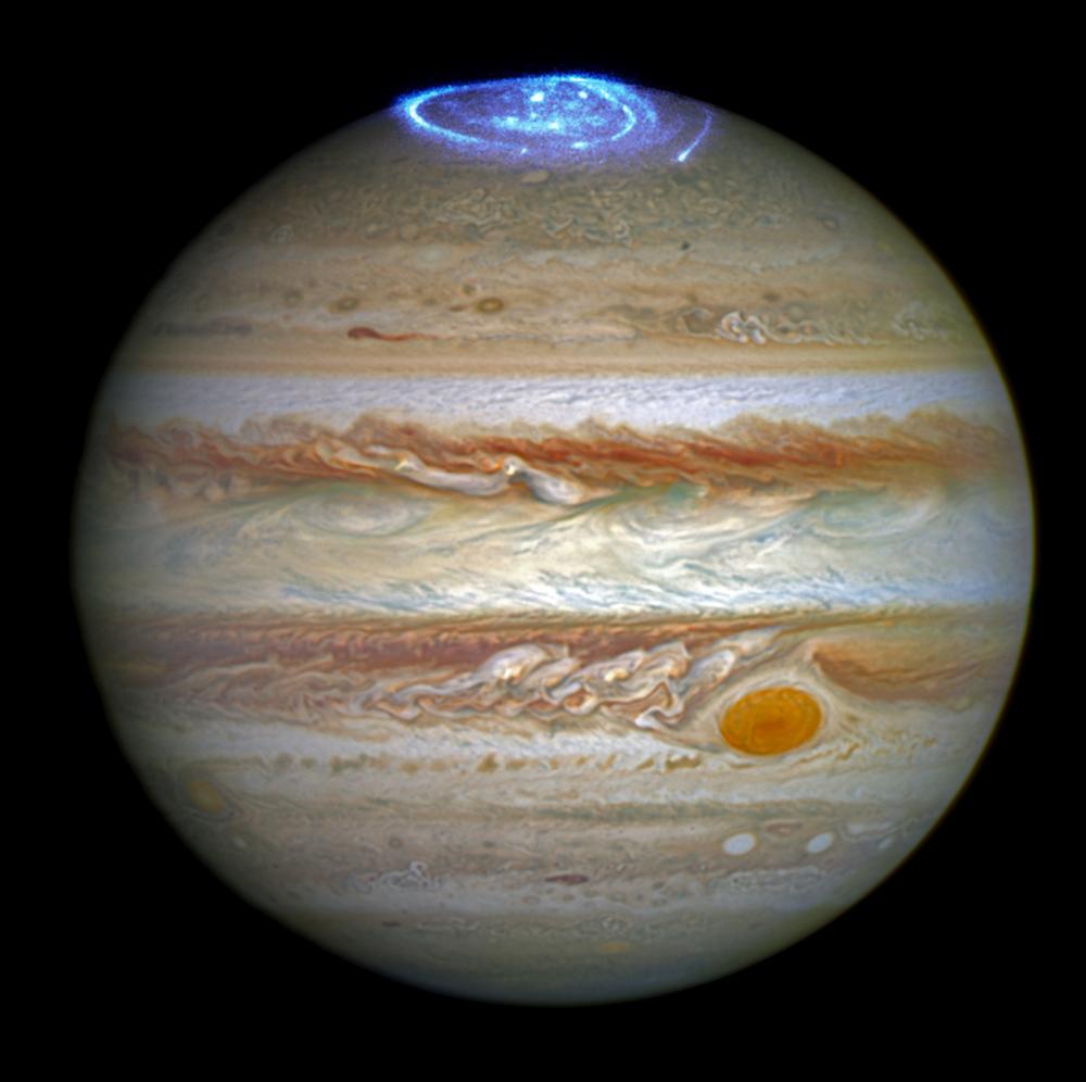Jupiter har et sterkt magnetfelt og dermed også nordlys. Foto: NASA/ESA/J. Nichols (University of Leicester)