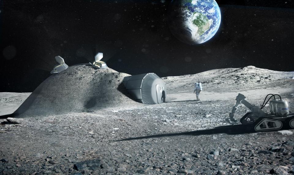 De store romorganisasjonene ønsker å dra tilbake til månen for å lære mer om månen, jorda, solsystemets barndom, og å bo og jobbe utenfor jorda. Grafikk: ESA/Foster + partners