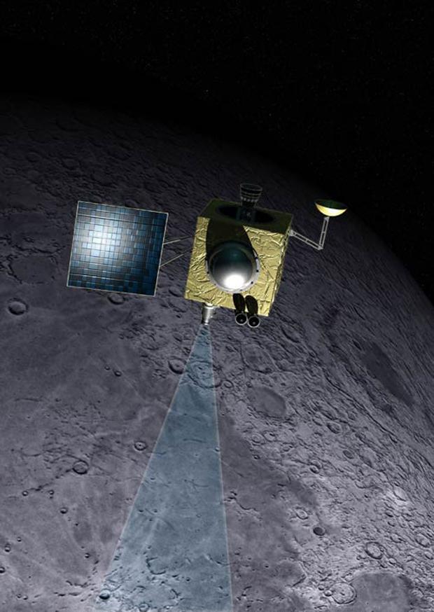 Den indiske månesonden Chandrayaan-1. Illustrasjon: D. Roam