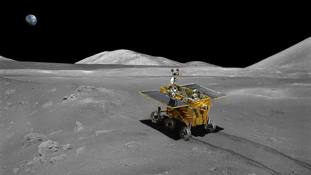 Yutu, Kinas månerover, skal se etter verdifulle mineraler på månen. Illustrasjon: Beijing Institute for Spacecraft System