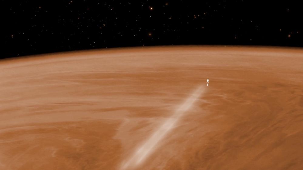 Den europeiske romsonden Venus Express utfører en luftbremsingsmanøvre høyt i atmosfæren på Venus. Grafikk: ESA/C. Carreau