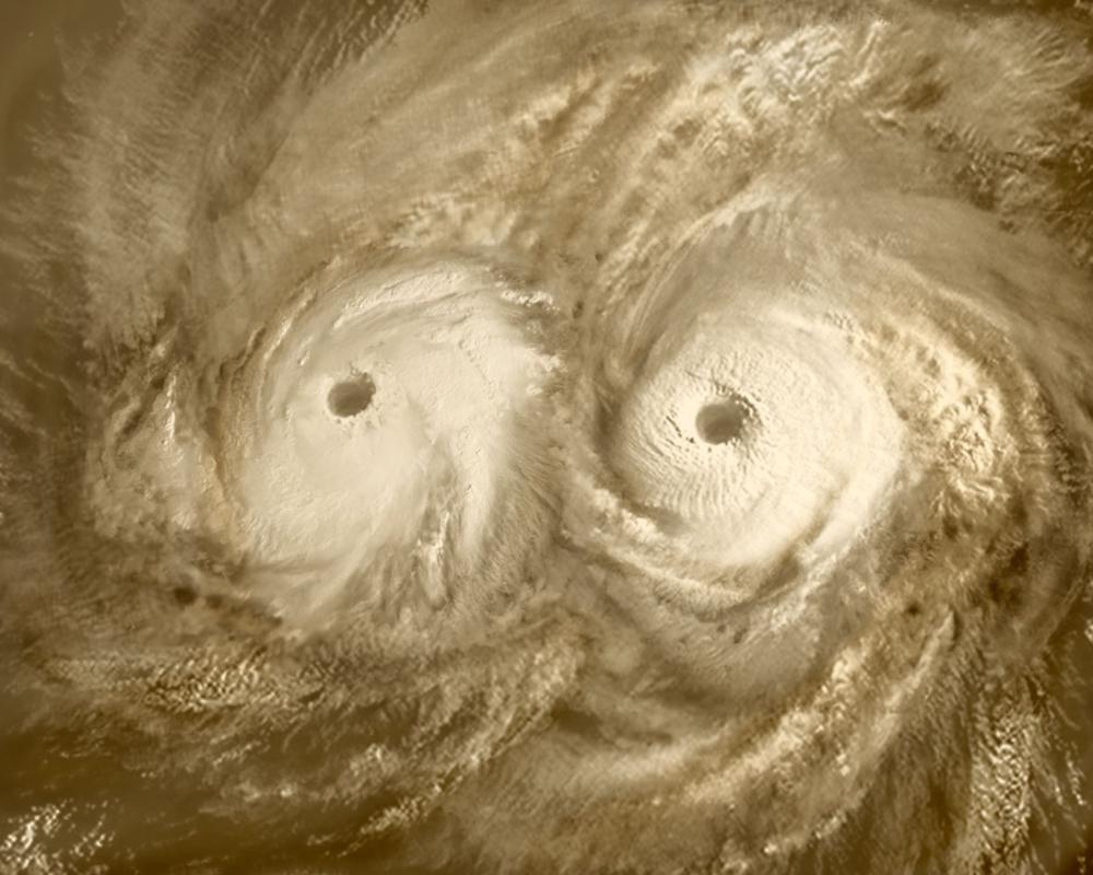 Kjempeorkaner over nordpolen til Venus sett av Venus Express. Foto: ESA