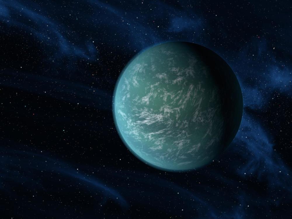 Kepler 22b er en exoplanet i den beboelige sonen. Illustrasjon: NASA