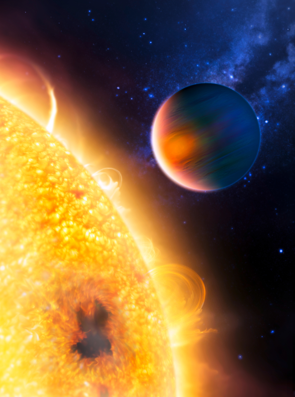 Exoplaneten HD 189733b er en gassgigant som går så nær sin stjerne at atmosfæren holder på å koke bort. Illustrasjon: ESA/NASA/G. Tinetti/M. Kornmesser