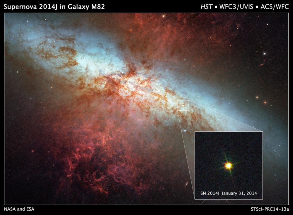 Supernovaen SN2014J i galaksen M82 er en hvit dvergstjerne som eksploderte til en Type 1a supernova i januar 2014. Foto: NASA/ESA/A. Goobar/Hubble Heritage Team