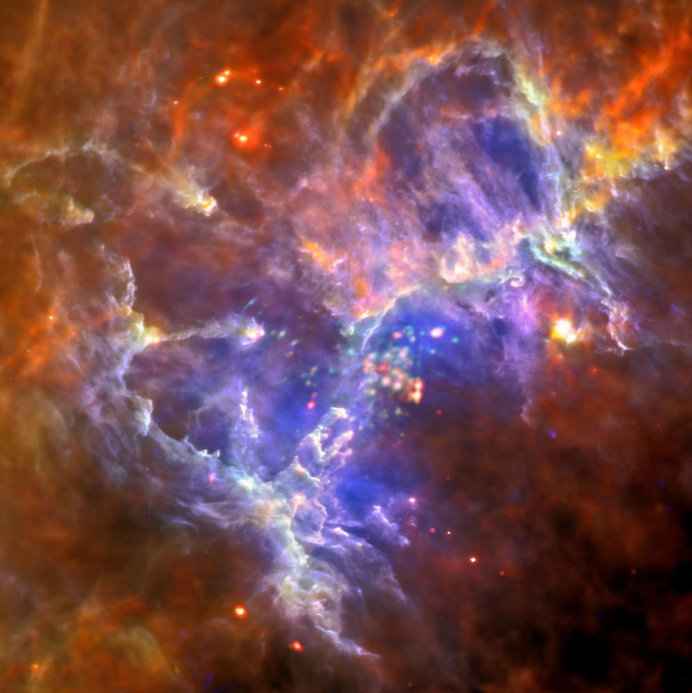 Stjernedannende region i Ørnetåken sett av Herschel og XMM Newton. Foto: ESA