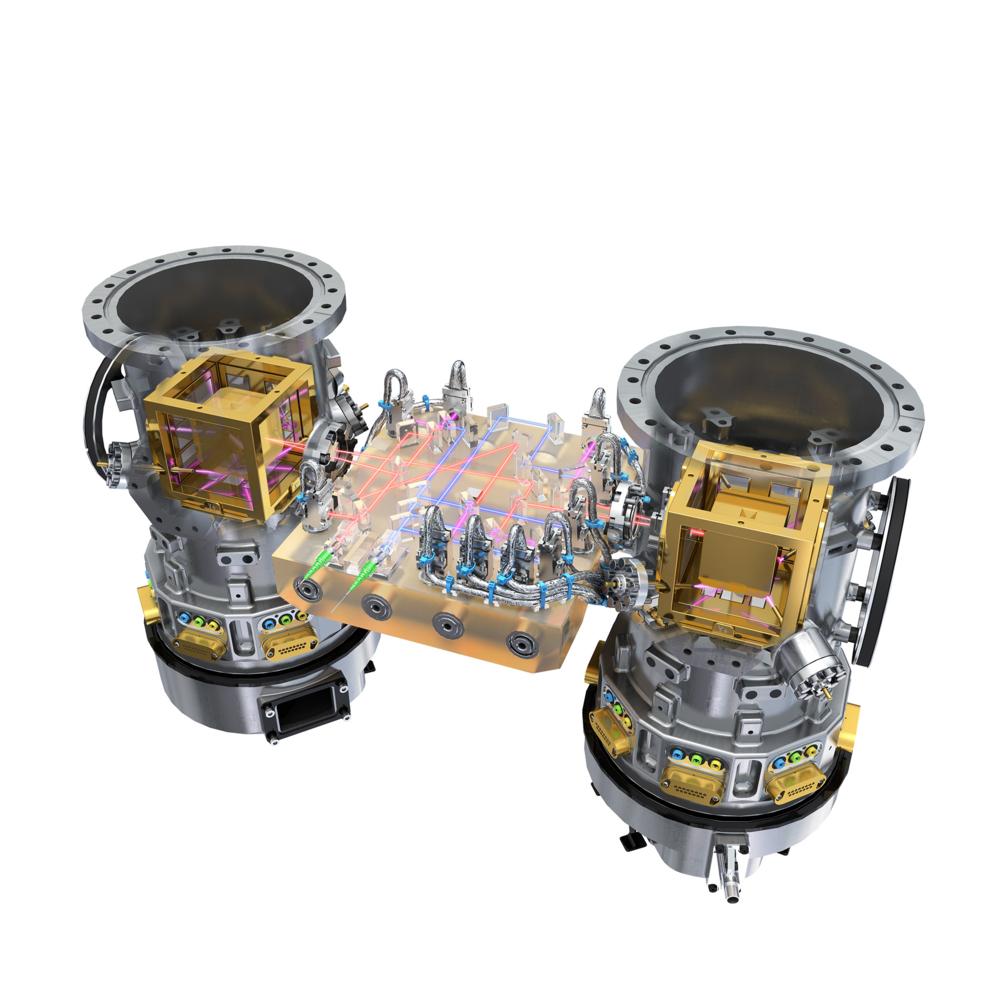 LISA Pathfinder tester observasjon av gravitasjonsbølger i rommet. Avstanden mellom to klosser som svever fritt i hvert sitt kammer blir målt med lasere ned til nøyaktighet mindre enn et atom. Grafikk: ESA/ATG medialab