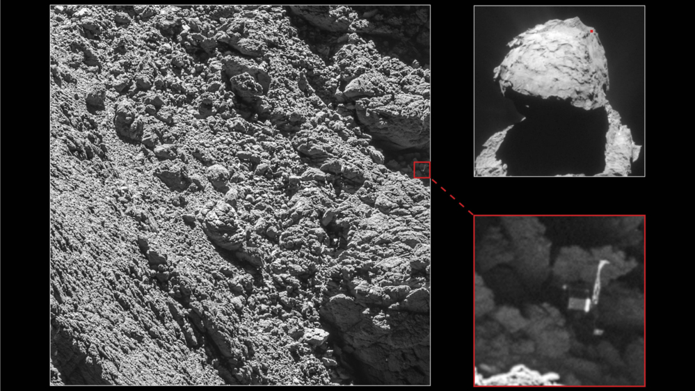 Her ble Philae funnet. Foto: ESA.