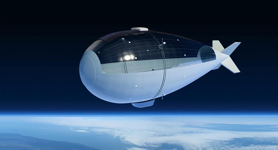 Det elektriske og selvstyrte luftskipet Stratobus skal gå i 20 km høyde for å forske på miljø og klima, overvåke land eller hav, eller sørge for internett eller mobilkommunikasjon. Luftskipet er en mellomting mellom en satellitt og en drone. Grafikk: Thales Alenia Space