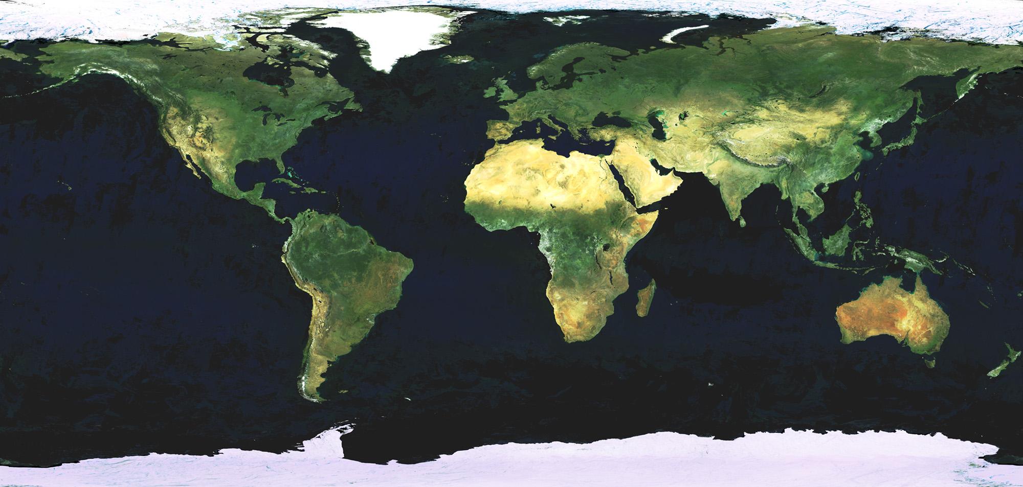 Bilde av hele jorda, tatt av den europeiske jordobservasjonssatellitten Envisat. Foto: ESA