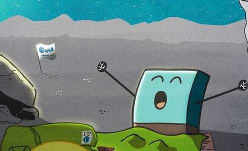 Philae, som landet på kometen 67P i november 2014, våknet igjen fra dvale i juni 2015. Illustrasjonen er fra de animerte filmene om Philae og modersonden Rosetta. Grafikk: ESA