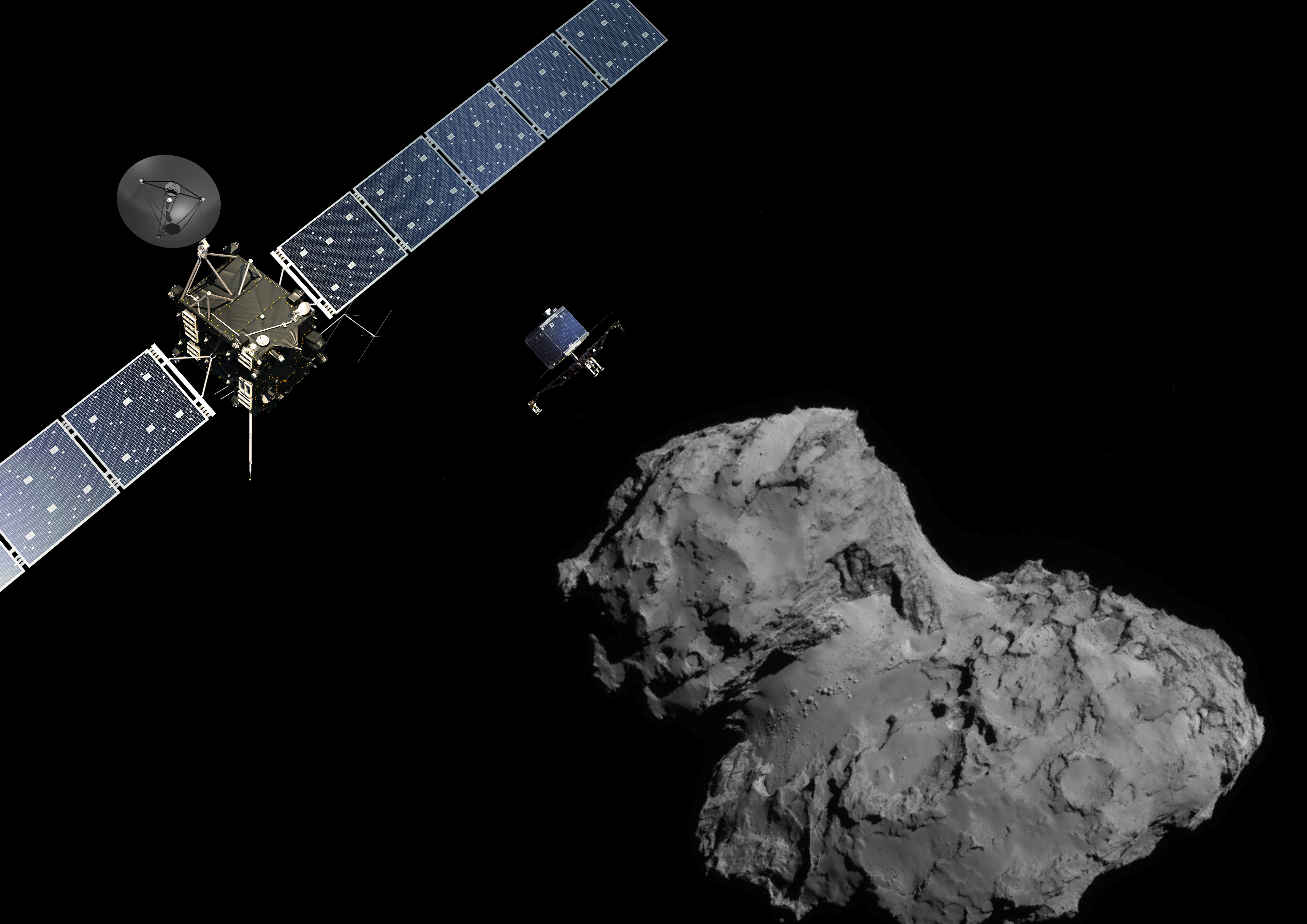 LandingssondenPhilae (midten) på vei fra kometsonden Rosetta (til venstre)til kometen 67P (til høyre). Illustrasjon: ESA.
