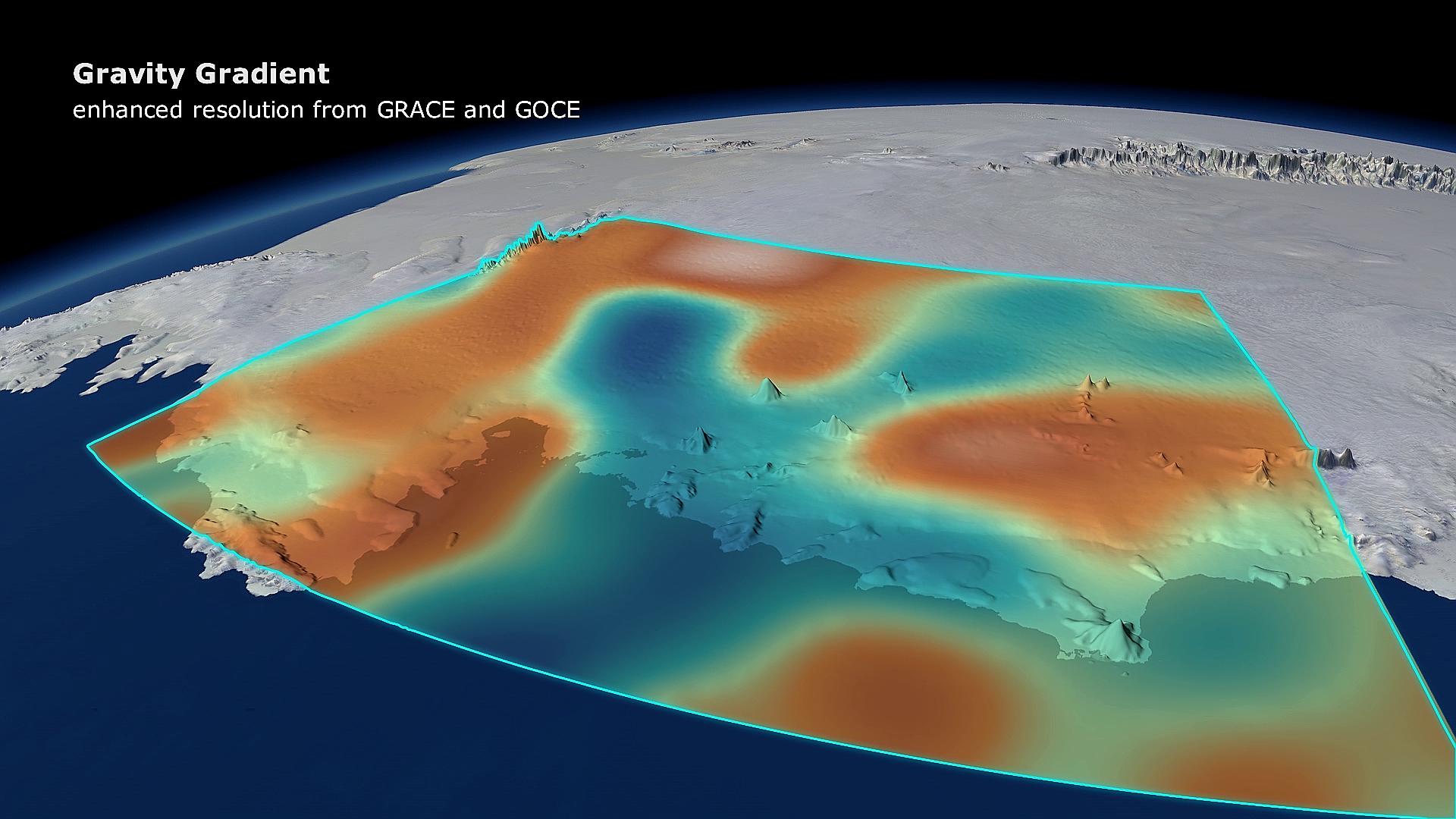 Tyngdefeltsatellitten GOCE viser at så mye is har forsvunnet fra Vest-Antarktis at jordas tyngdefelt har endret seg lokalt. Grafikk: DGFI/Planetary Visions