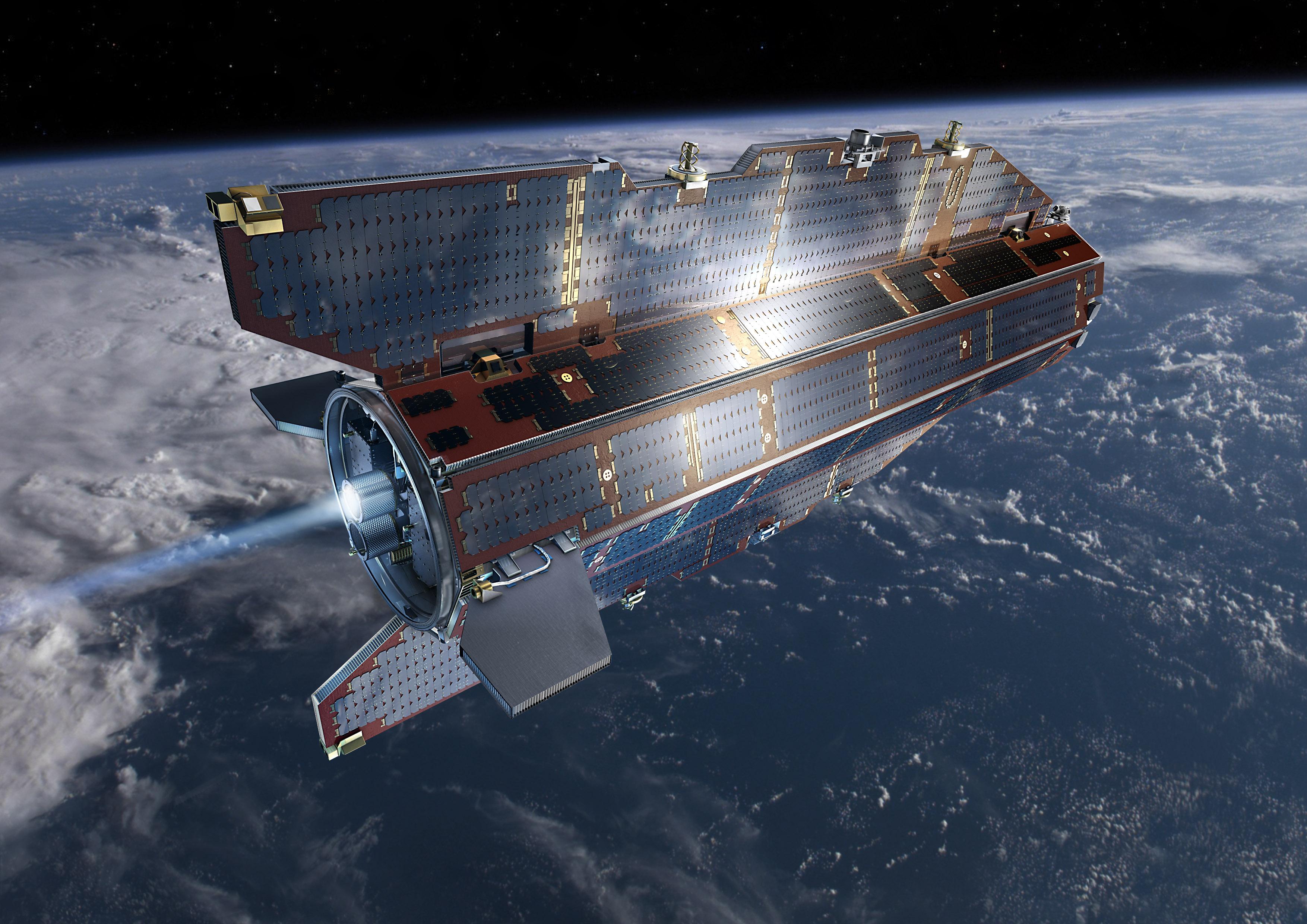 GOCE, Gravity field and steady-state Ocean Circulation Explorer, undersøker jordas tyngdefelt. Illustrasjon: ESA