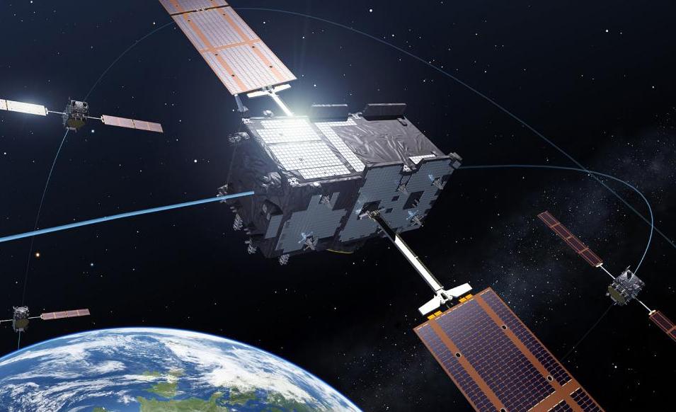 Fire av satellittene i det nye europeiske navigasjonssystemet Galileo. Grafikk: ESA/P. Carill