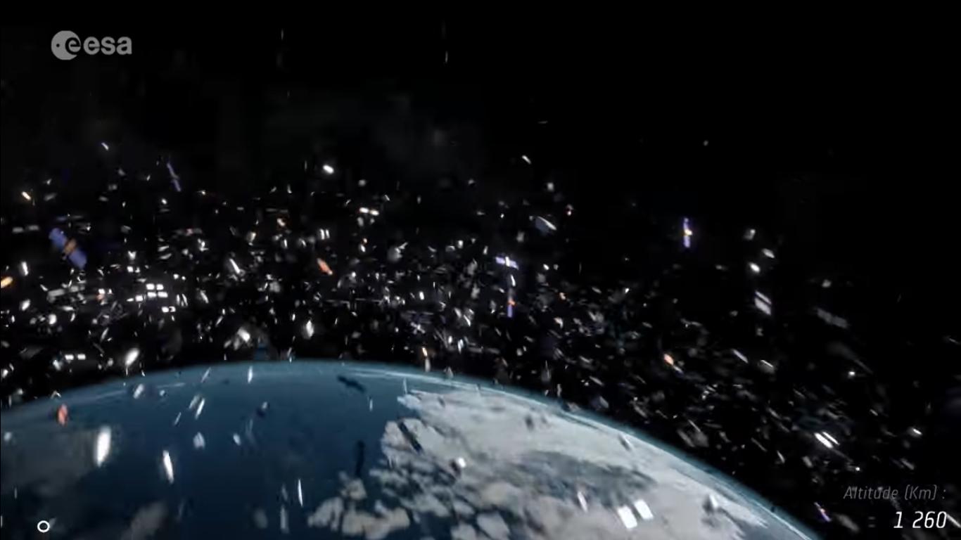 Jorda er omgitt av en sky av romsøppel som består av døde satellitter, gamle rakettmotorer, rester etter kollisjoner og andre deler. Grafikk: ESA