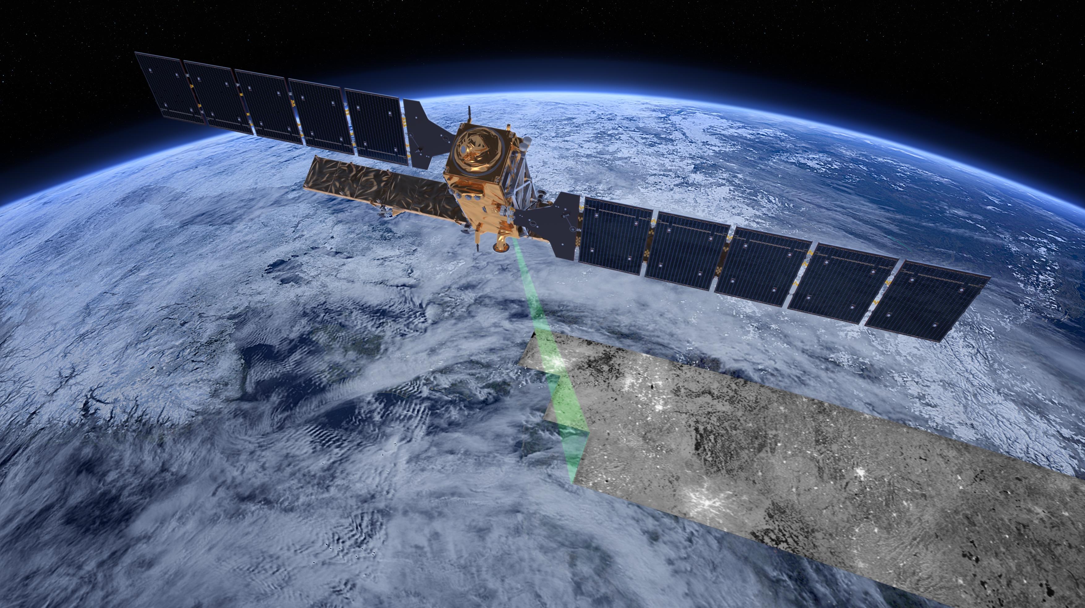 Sentinel-1 er en radarsatellitt i Copernicus-programmet. Den ser blant annet havis, oljesøl ogskipstrafikk for norske brukere. Illustrasjon: ESA/ATG medialab