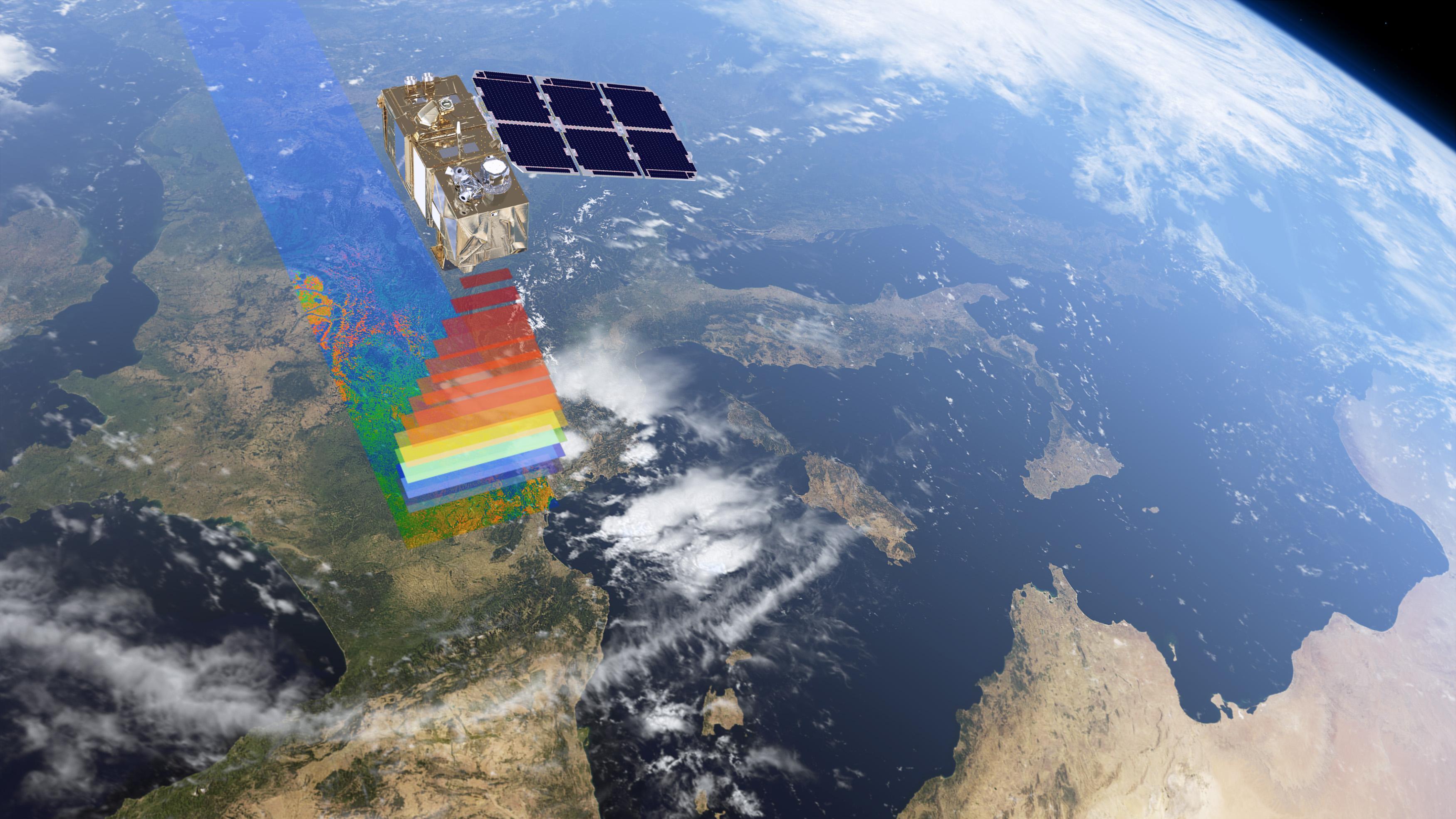 Sentinel-2 er en optisk satellitt som ser i farger og infrarødt for å holde øye med vegetasjonsdekke, skogmasse, jordbruk, plantevekst, elver, innsjøer, og kystlinjer. Grafikk: ESA