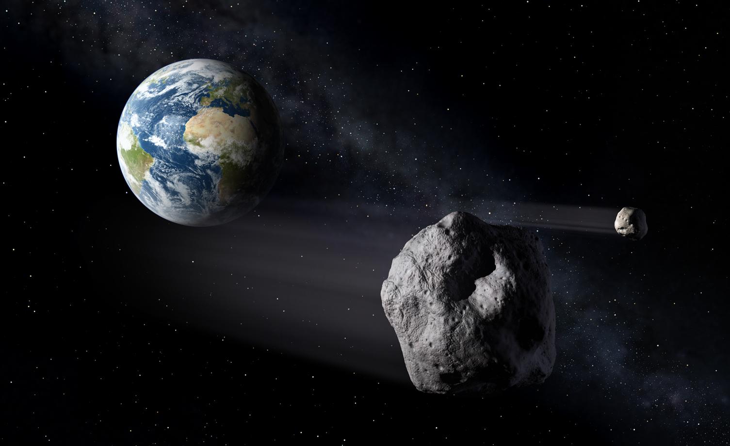 Asteroider som går nær jorda, såkalte Near Earth Objects (NEO). Illustrasjon: ESA