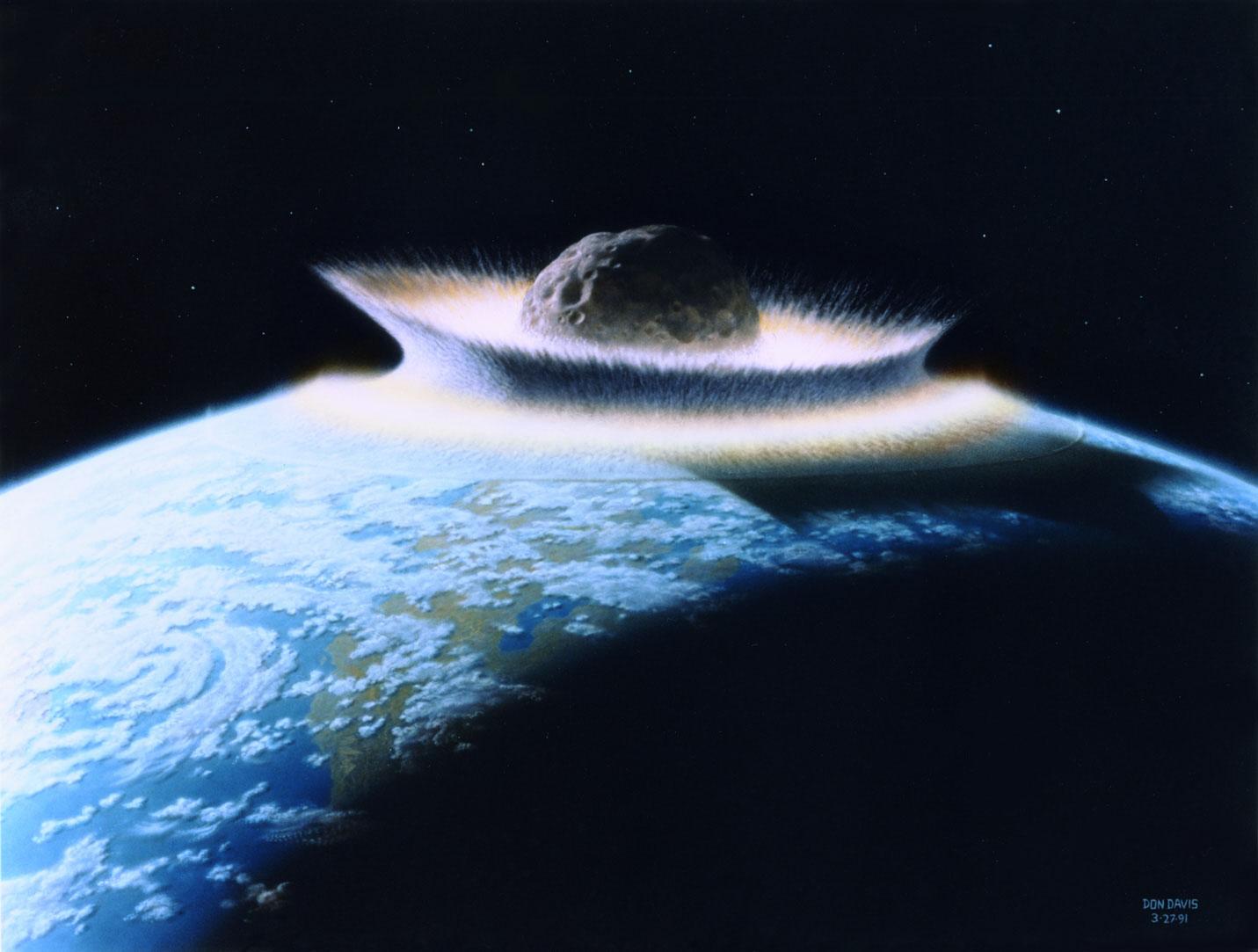 En enorm asteroide treffer jorda. Illustrasjon: NASA/D. Davis