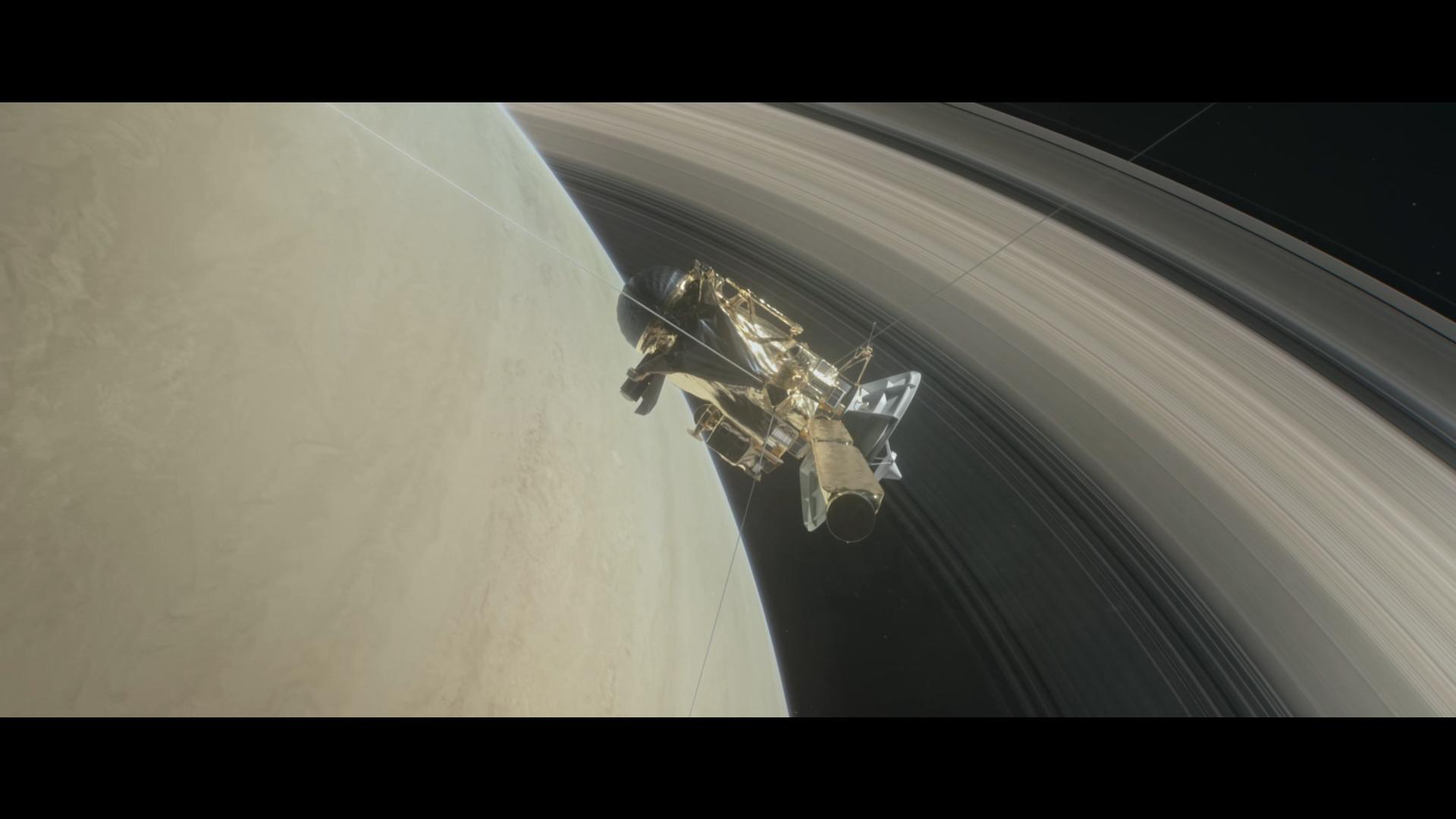 Cassini dykker ned bak Saturns ringer under avslutningen på 20 års jobb i rommet som starter 26. april 2017. Grafikk: NASA/JPL/E. Wernqvist