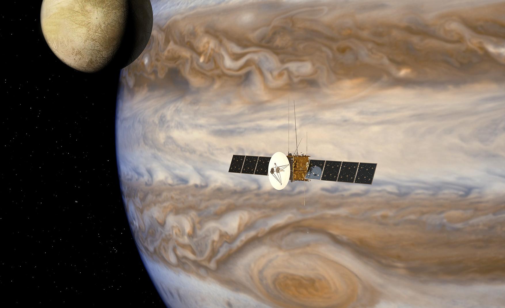 Den europeiske romsonden Juice skal undersøke Jupiter og tre av dens ismåner, Europa, Callisto og Ganymedes, i 2030, med norsk teknologi ombord. Grafikk: ESA/AOES