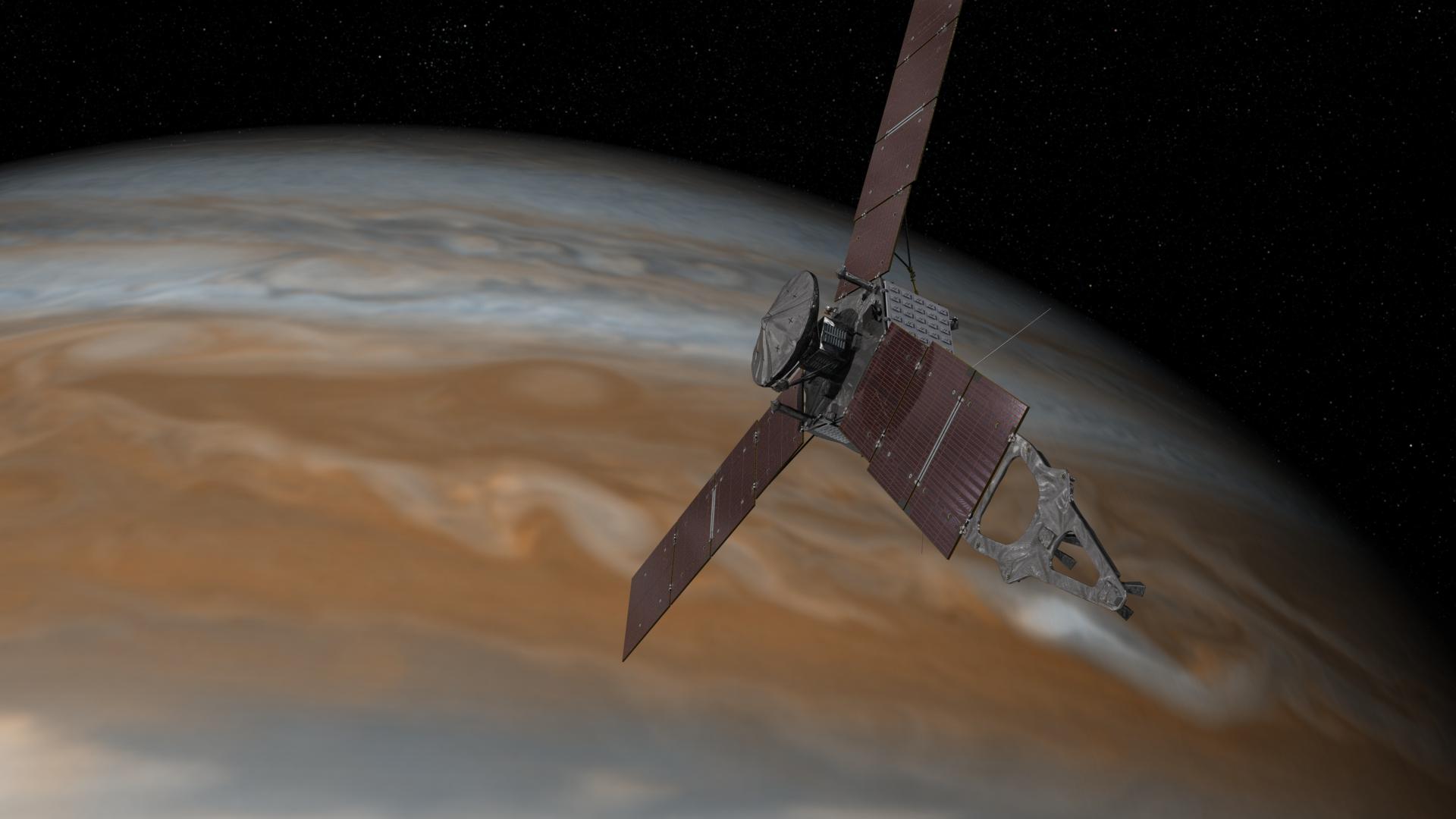 NASAs romsonde Juno forsker på Jupiters tilblivelse, sammensetning, rotasjon, atmosfære og magnetfelt. Grafikk: NASA/JPL