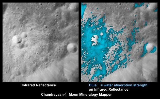 Vannholdige mineraler (blått) på månens overflate, sett av instrumentet Moon Mineralogoy Mapper (M3) ombord på månesonden Chandrayaan-1. Foto: ISRO/NASA/JPL-Caltech/USGS/Brown Univ.