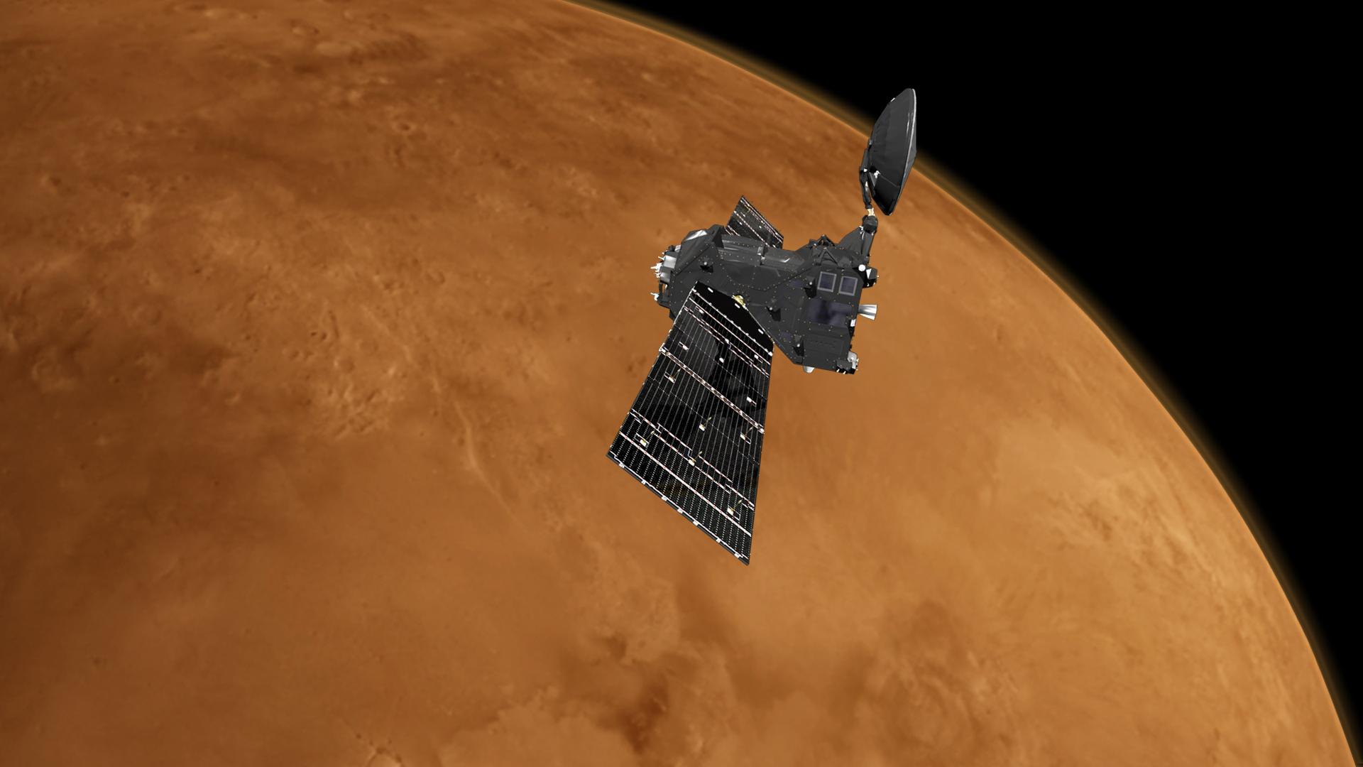 Trace Gas Orbiter i det russisk-europeiske samarbeidsprosjektet ExoMars 2016 skal blant annet undersøke kilden til metan på Mars. Grafikk: ESA/ATG medialab