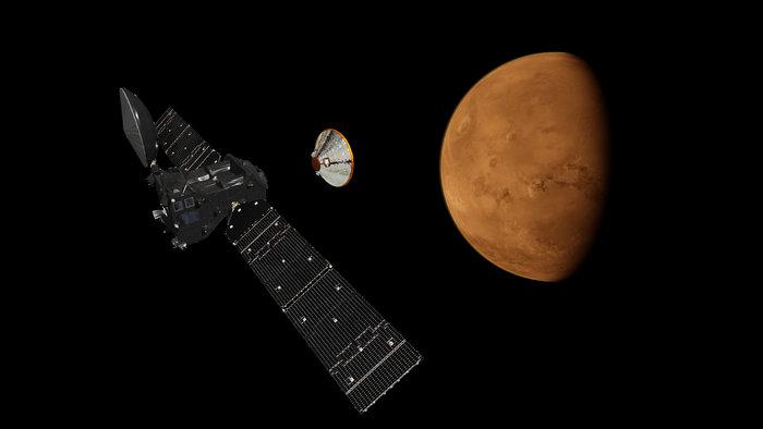ExoMars Trace Gas Orbiter skal snuse på sporgassene i Mars-atmosfæren, som metan som kan skyldes biologisk aktivitet. Romsonden skytes opp i Mars 2016. Grafikk: ESA/ATG medialab