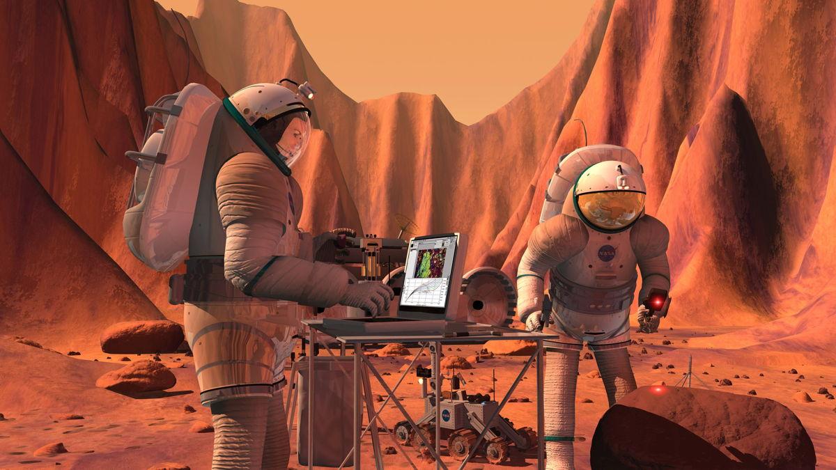 NASA har planer om å sende romfarere til Mars en gang på 2030-tallet. Grafikk: NASA/JSC
