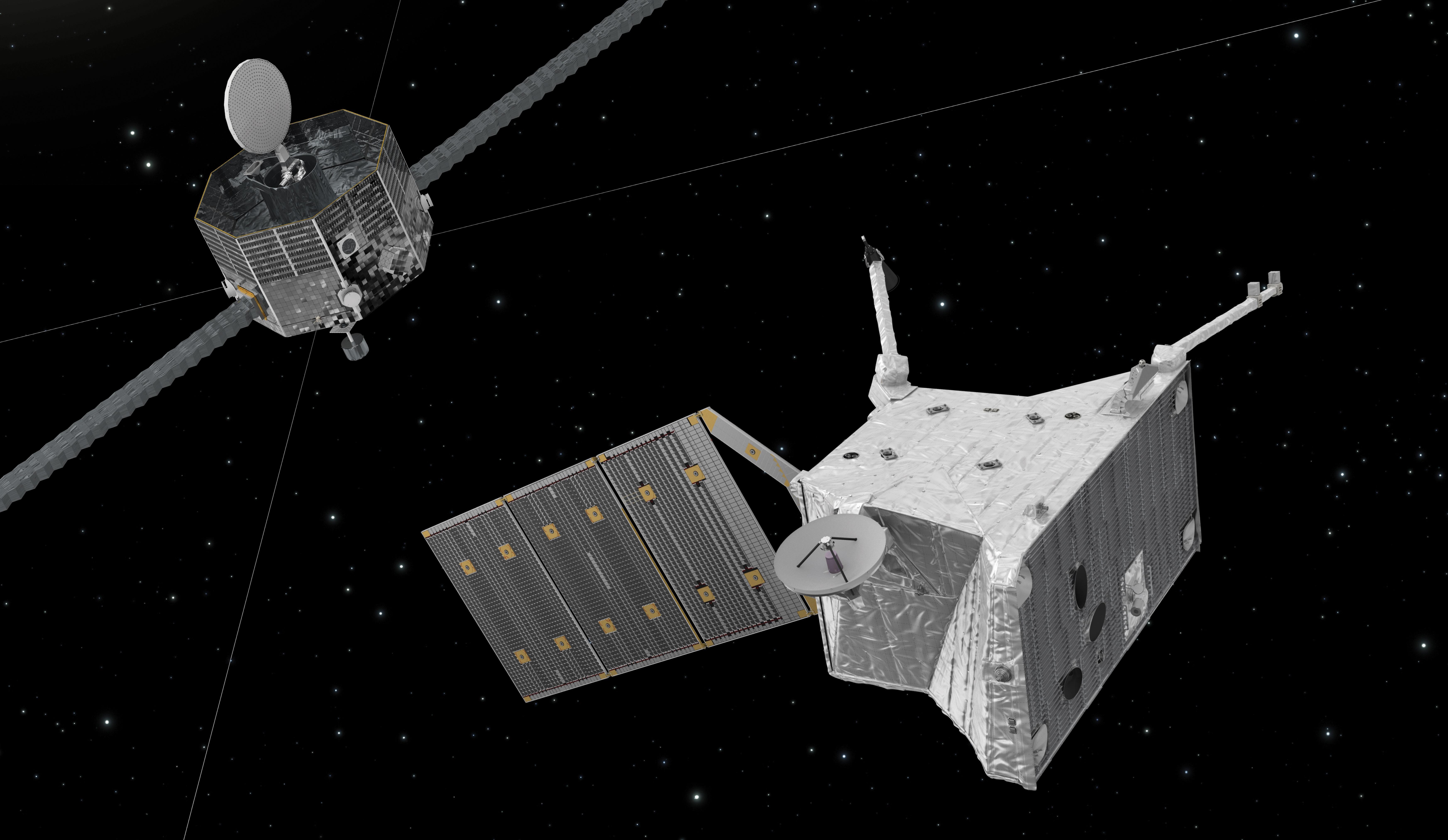 BepiColombo består av to romsonder, Mercury Magnetospheric Orbiter (til venstre) som skal undersøke Merkurs magnetfelt og exosfære, og Mercury Planetary Orbiter som skal forske på Merkurs ytre, sammensetning og indre. Illustrasjon: ESA/ATG medialab
