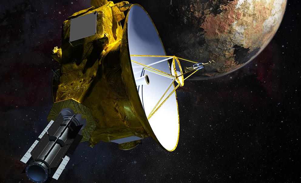 Illustrasjon av romsonden New Horizons og Pluto. Grafikk: NASA/JHU APL/SwRI/S. Gribben