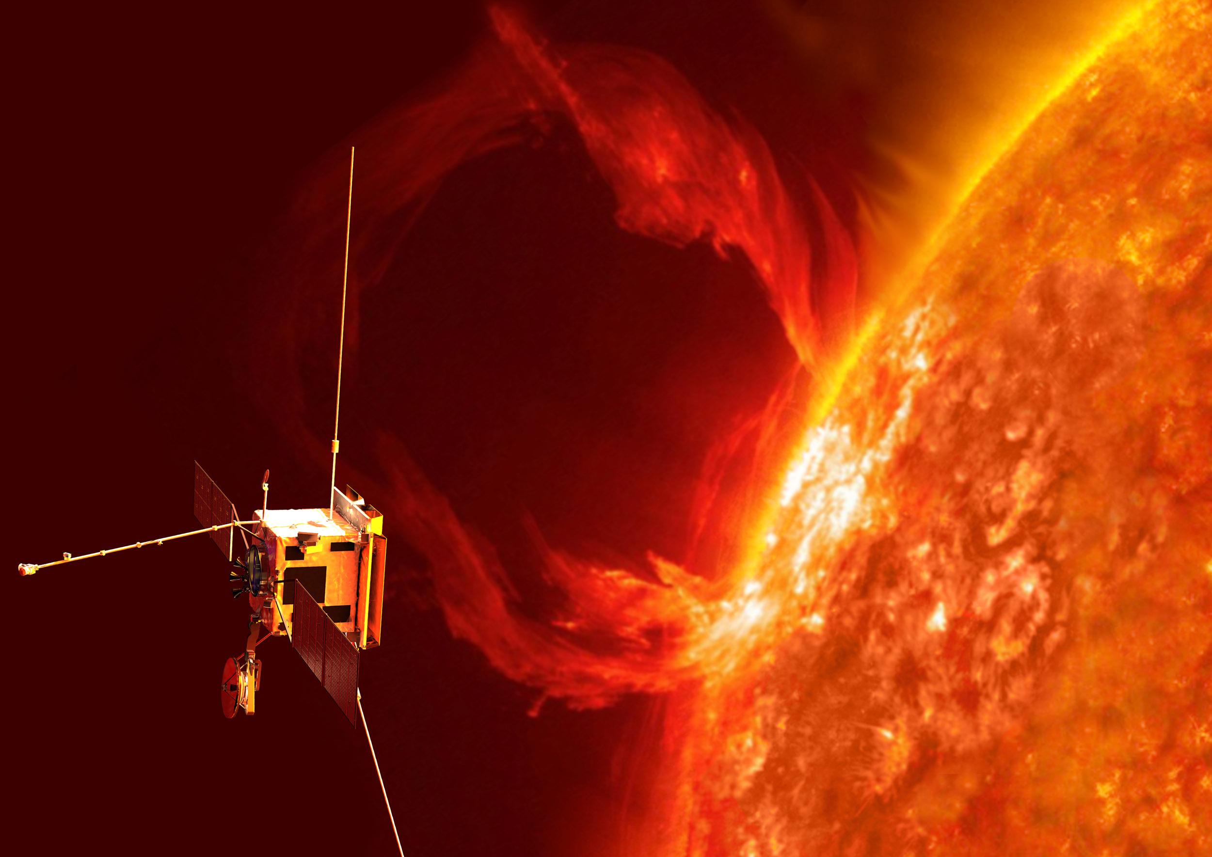 ESA og NASAs romsonde Solar Orbiter skal undersøke sola i ekstremt høy oppløsning og gå nærmere den enn noen annen romsonde. Illustrasjon: ESA/AOES