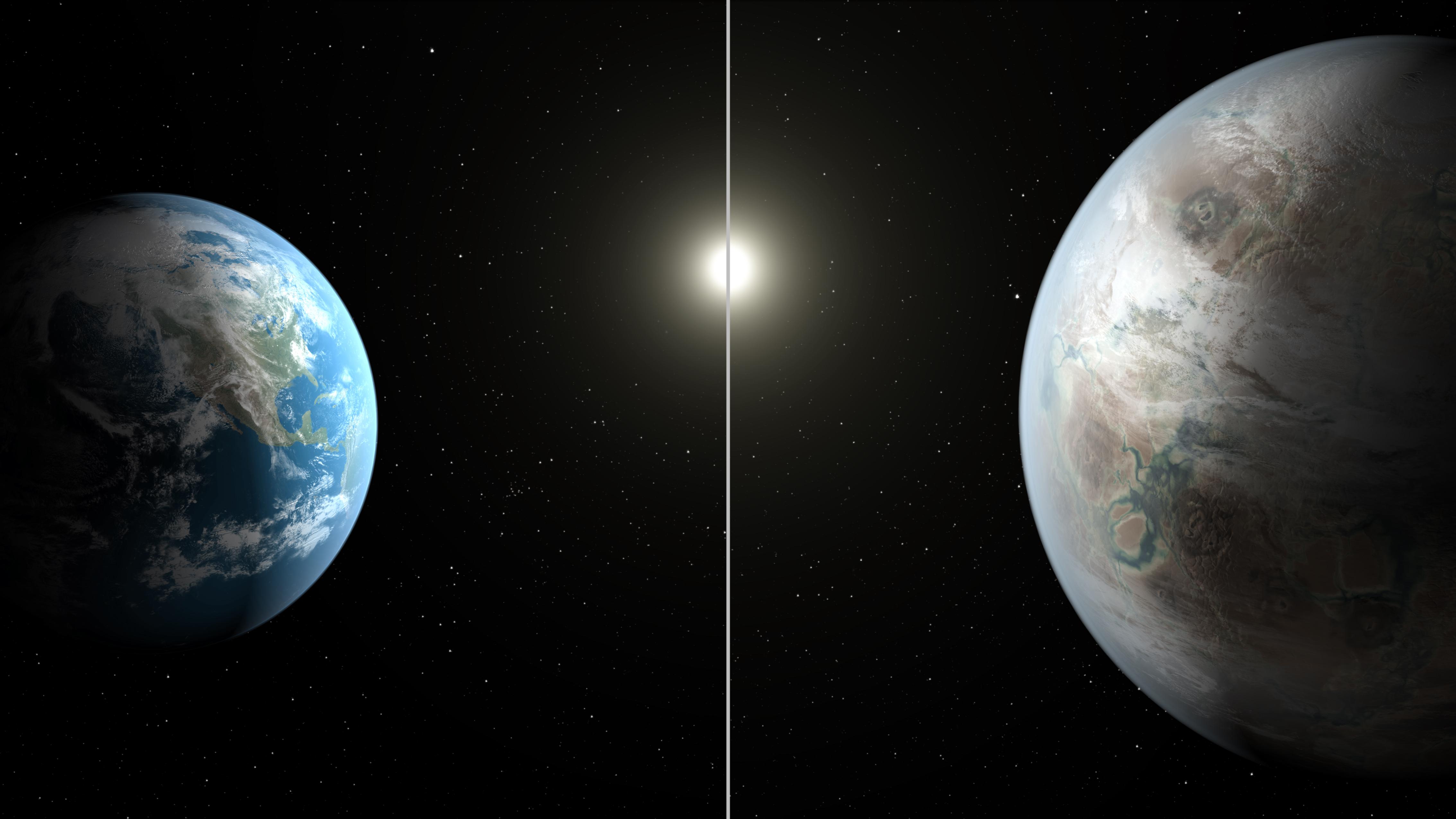 Kepler 452-b er en av de mest jordliknende planetene som er funnet. Her er størrelsen sammenliknet med jorda. Grafikk: NASA Ames/JPL-Caltech/T. Pyle