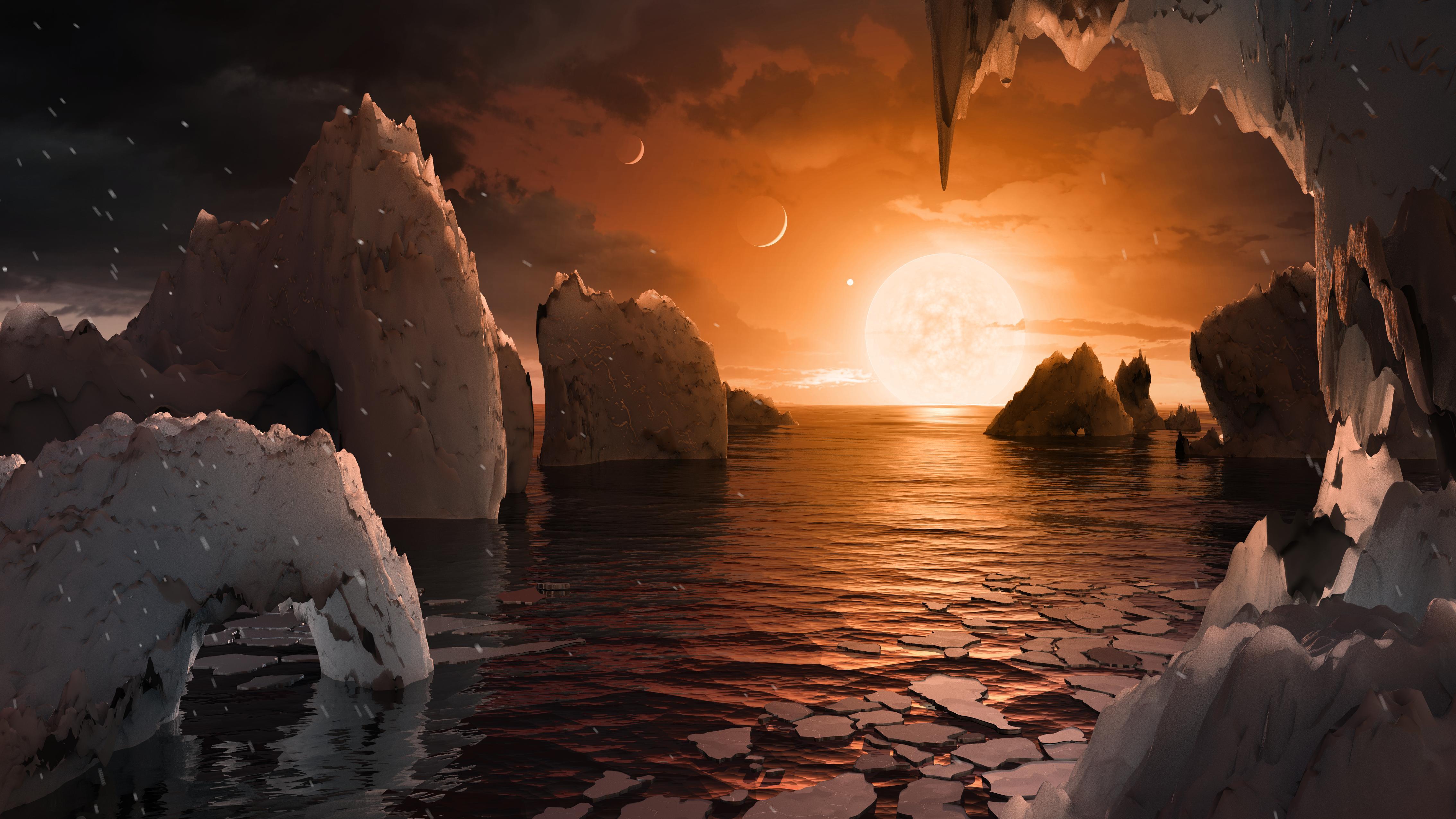Den jordliknende exoplaneten TRAPPIST-1f kan ha flytende vann og nedbør på overflaten. Grafikk: NASA/JPL-Caltech