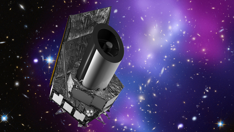 Det europeiske romteleskopet Euclid skal undersøke 2 milliarder galakser for å finne ut hva mørk energi og mørk materie er for noe. Grafikk: ESA/C. Carreau