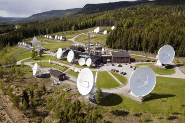 Telenor's teleport in Nittedal communicates with radio, TV, telephony and computer satellites. It is the biggest earth station in the Nordic region and has over 50 antennae. Credit: Telenor Satellite Broadcasting.